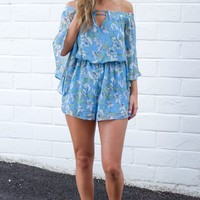 Blue Floral Off The Shoulder Romper
