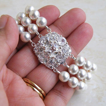 Bridal Bracelet Pearl Cushion Cubic Zirconia Silver 3 Strand Brooch Bracelet - Itzel B2 Wedding Jewelry