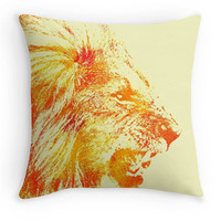 Roaring Lion Scatter Cushion, Colourful Big Cat Throw Pillow, 16x16, Home Decor