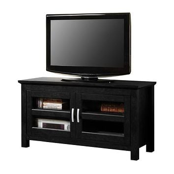 "44"" Black Wood TV Stand Console"