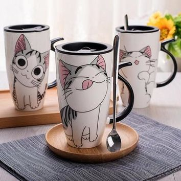 Cute Cat Style Ceramic Mugs with Lid - Spoon Cartoon Morning Coffee Mug