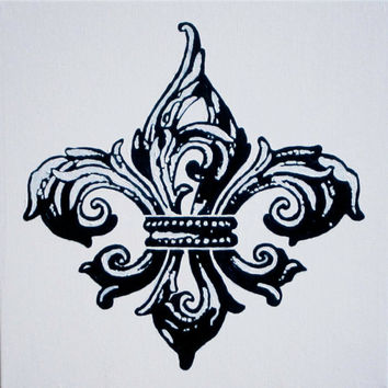"White Black Fleur de Lis Painting Wall Art Acrylic Canvas 12""x12"" Original New Orleans Saints Decor Christmas Gift French Paris France Kappa"