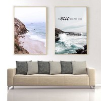 Minimalist Surf Beach Letter Nordic Posters And Prints Landscape Canvas Painting Wall Art Pictures For Living Room Home Decor