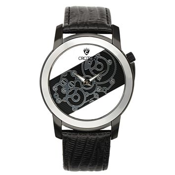 Croton Mens Stainless Steel Black See Thru Dial Watch