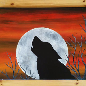 Wolf silhouette, moon painting on canvas, howling wolf art, wolf wall decor, acrylic hand painted painting, wolf lover gift, gift for mom