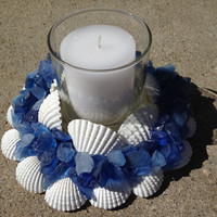 Beach Decor - Sea Glass & Shell Wreath With Candle (SGW009)