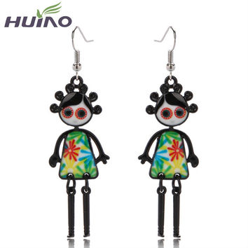 Red 2015 Pendientes Sterling Jewelry Baby Girl Doll Earrings Brincos Antique Color Drop Indian Jewelry For Women Boucle Doreille