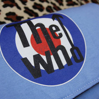 THE WHO - Upcycled Rock Band T-shirt Clutch Bag - OOAK