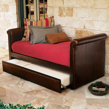 """Ethan"" Leather Daybed with Trundle - Horchow"