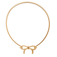 FOREVER 21 Sweet Bow Collar Necklace Gold One