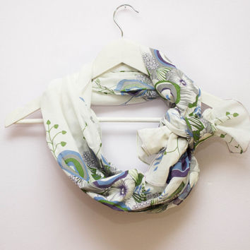 Floral Scarf, Cotton Spring Scarf, Pastel Scarf, Light Summer Scarf, Multicolor Scarf, Abstract Scarf, Lightweight Scarf, Chic Scarf