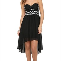 High Low Dress with Chevron Bodice and Bow Accent
