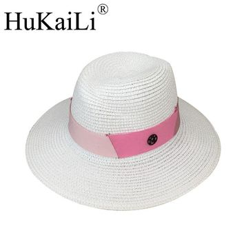 New white abnormity Sir Straw hat pink multicolor splicing ribbon double black Metal logo female hat