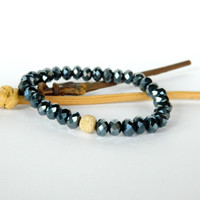 Navy rondelle high quality Crystal bead stretch bracelet with Gold Filled Stardust accent  bead ~ Stack Bracelet ~