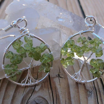 Tree of Life Earrings - Peridot Earrings - Made to Order - Silver Plated Copper