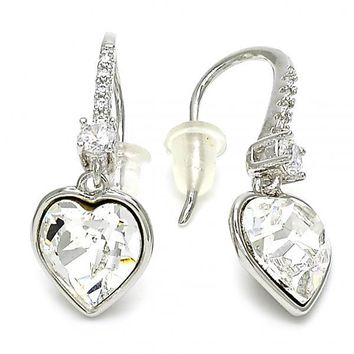 Rhodium Plated 02.26.0261 Dangle Earring, Heart Design, with Crystal Swarovski Crystals and White Cubic Zirconia, Polished Finish, Rhodium Tone
