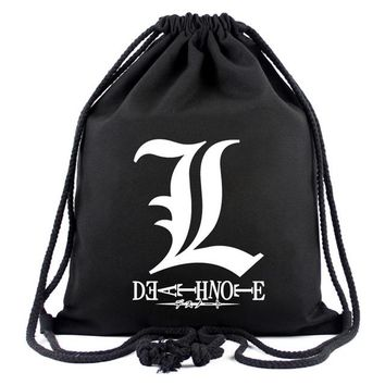 Anime Backpack School 2018 New Death Note Drawstring Bag Movies kawaii cute Designs Backpack Canvas Pouch Organizer Bags AT_60_4