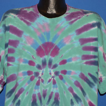 80s Blue Purple Pink Tie Dye t-shirt Extra Large