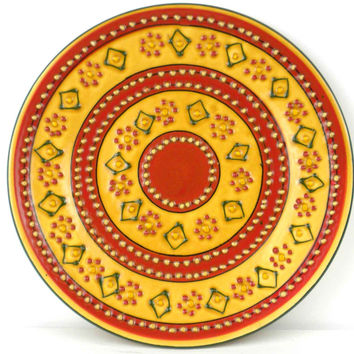 Hand-painted Round Plate in Red