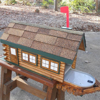 Log Cabin Mailbox, handcrafted, shingles, doors and windows