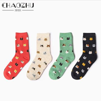 CHAOZHU Korea Fashion Stretch Jacquard Lovely Cats Face Socks Kitty Women Cotton Socks Happy Socks Calcetines