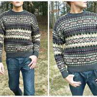 100% Wool Fair Isle Fisherman Sweater - Thick Knit - Nordic Look - Ski Style - Mens XL