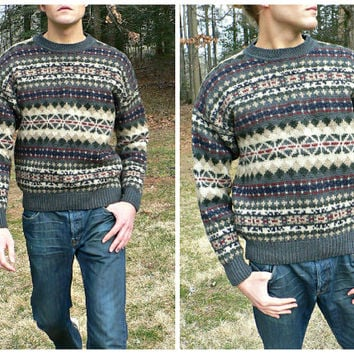 100% Wool Fair Isle Fisherman Sweater - Thick Knit - Nordic Look