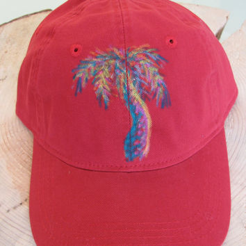 Palm Tree Baseball Hat hand painted