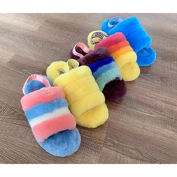 UGG Tide brand female models personality wild plush slippers