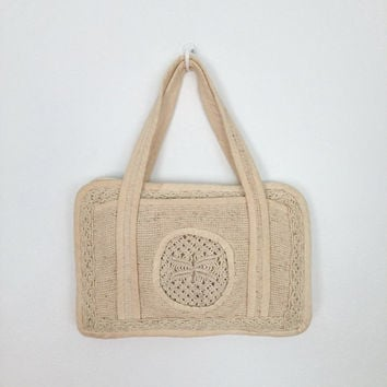 Vintage Crocheted Handbag  / Cream White Macrame Purse / 1970s 1980s 70s 80s