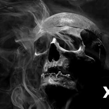Skull in the dark with smoke coming out of the eye sockets - Airbrush Stencil