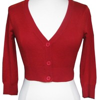 Mak Cherry Red Cardigan Sweater Top Pinup Retro Rockabilly 50's 40's