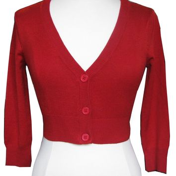 Cherry Red Cropped V-neck Cardigan Sweater Pinup