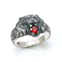 Silver Lion Ring with Garnet Handmade by SwankMetalsmithing