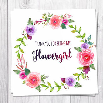 Flowergirl Thank You Card, Thank You For Being My Flowergirl, Wedding, Pink Flowers, Boho, Bohemian Wedding, Flower Thank You Card, Wreath