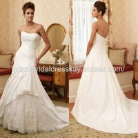Elegant mermaid taffeta wedding dress bridal gown