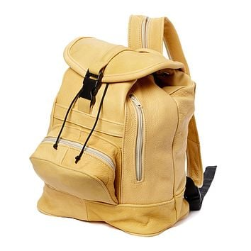 AFONiE Genuine Leather Backpack with Convertible Strap Super Soft Leather Tan Color