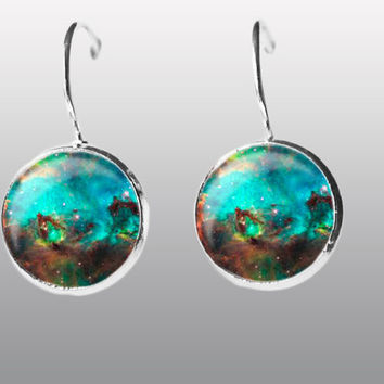 Green Galaxy Earring. Nebula Space Earrings. Universe Earrings. Galaxy dangle Earrings. Space Post Earrings Gift for Women and Girls.