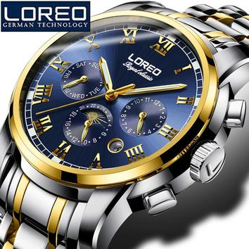 LOREO Men'S Sapphire Watch Antique Stainless Steel Automatic Military Mechanical Wristwatch Business Watches Gift Watch K04