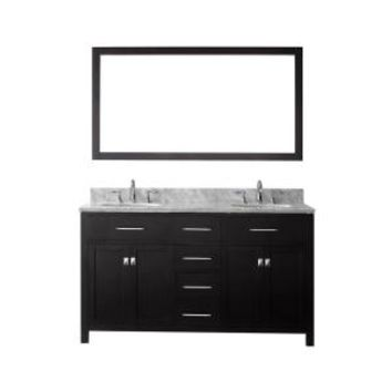 Virtu USA Caroline 60 in. W x 36 in. H Vanity with Marble Vanity Top in Carrara White with White Round Basin and Mirror MD-2060-WMRO-ES at The Home Depot - Mobile