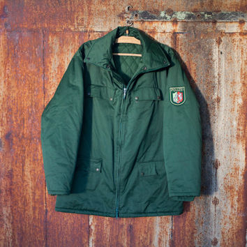 Vintage man's German police anorak field jacket winter police coat olive green canvas jacket militia jacket camo jacket Halloween costume