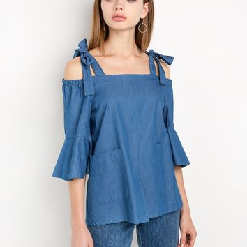 Chambray Shoulder Tie Top by New Revival