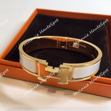 AUTH HERMES PM SMALL CLIC CLAC WHITE WITH GOLD HARDWARE NARROW ENAMEL BRACELET