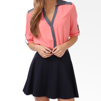Chambray Trim Chiffon Blouse