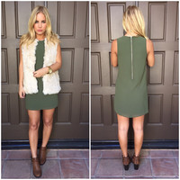 Cypress Olive Shift Dress