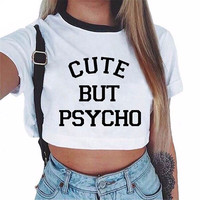 Cute But Psycho Crop Top Graphic Tee