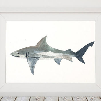 Cute shark watercolor print Nursery art Nautical decor ACW171