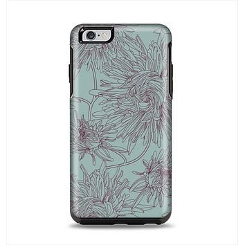 The Teal Aster Flower Lined Apple iPhone 6 Plus Otterbox Symmetry Case Skin Set