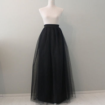Black maxi tulle skirt, maxi tulle skirt, black tulle skirt, prom dress, bridesmaids tulle skirt, tulle skirt, black tutu.