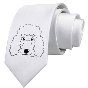 Cute Poodle Dog - White Printed White Necktie by TooLoud